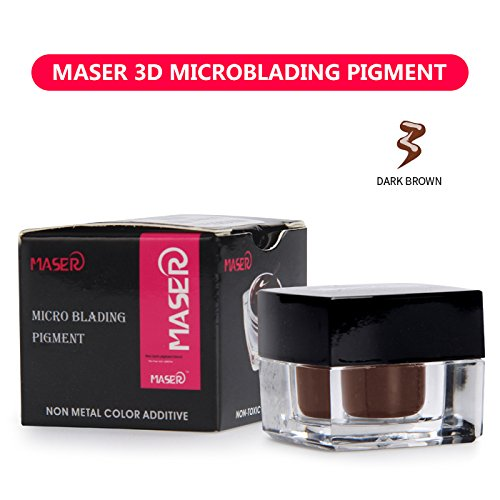 MASER 3D Microblading Pigment 100% Plant Material Tattoo Ink Permanent Makeup Pigment for Manual Pen for Eyebrow Lip and EyeLiner (DARK BROWN)