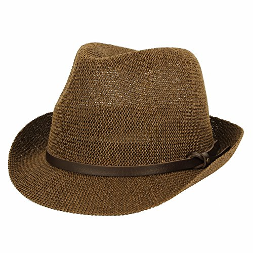 WITHMOONS Fedora Hat Summer Cool Paper Straw Trilby Band for Men SL61057 (Brown) ()