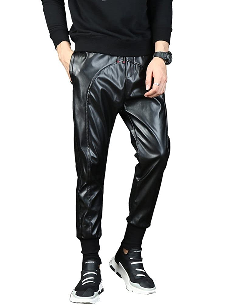 Idopy Men`s Faux Leather Joggers PU Motorcycle Harem Sweat Pants