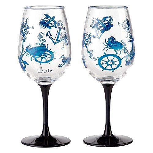 Enesco Designs by Lolita Set Sail Acrylic Wine Glasses, Set of 2, 16 -