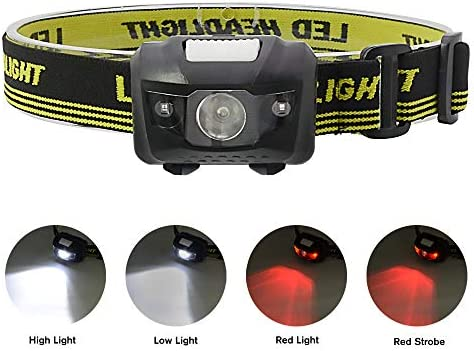 Witmoving Headlamp Head Torch with 4 Modes AAA Battery Operated