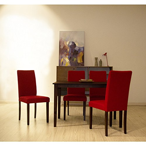 Warehouse of Tiffany Shino Crimson Linen and Cappuccino Wood 5-piece Dining Set