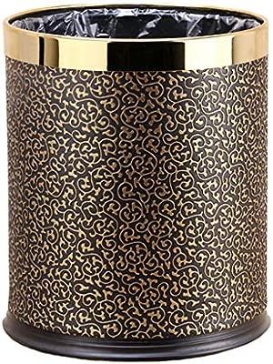 Cuero Impermeable Capacidad De 2.5 Galones CXSS-Trash cans CX Bote De Basura Sin Cubierta Doble Acero Inoxidable Forro De Contenedores De Basura De Cocina Oro Negro En Relieve 01