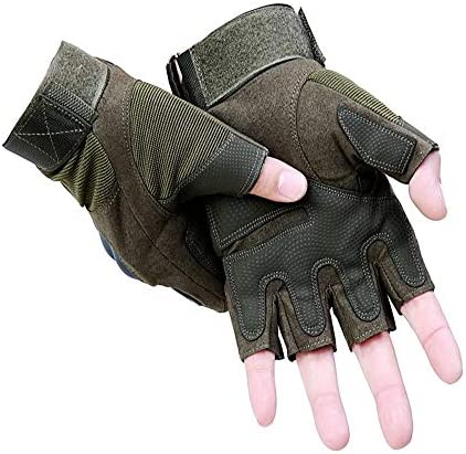 手袋 日常 実用 ハーフフィンガーフィッシンググローブメンズ滑り止めグローブ滑り止めと耐摩耗性の夏の薄い通気性 (Color : Green, Size : L)
