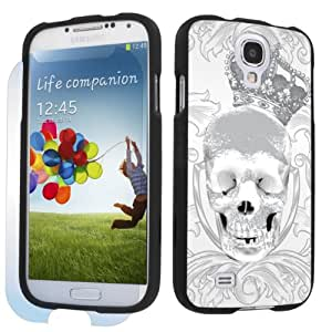 Samsung Galaxy S4 Black Protection Case + Screen Protector - White Skull Crown By SkinGuardz
