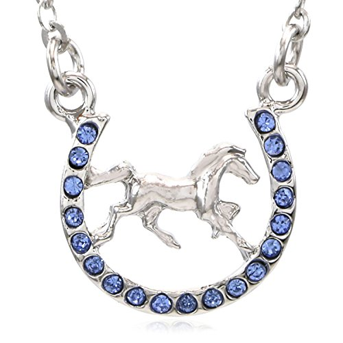 Horse Mustang Pony Horseshoe Necklace Pendant Lucky Charm Western Cowboy Cowgirl - Horseshoe Shop Gift