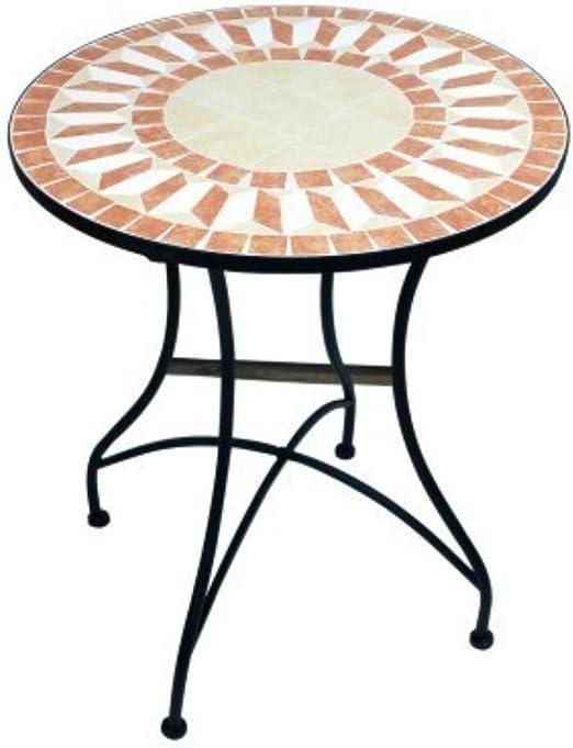 CAPRILO Mesa Redonda Decorativa de Resina Mosaico. Muebles Auxiliares. Jardín. Regalos Originales. Decoración Hogar. 71.5 x 60 x 60 cm.: Amazon.es: Hogar