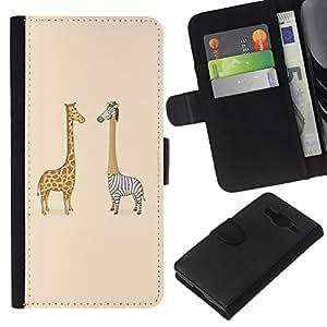 KLONGSHOP // Tirón de la caja Cartera de cuero con ranuras para tarjetas - Jirafa Cebra Savannah Arte Infantil de Dibujo - Samsung Galaxy Core Prime //