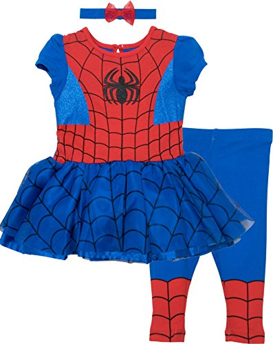 Marvel Spiderman Baby Girls' Costume Dress, Leggings and Headband Set (18-24 (Spiderman Halloween Costume Toddler)