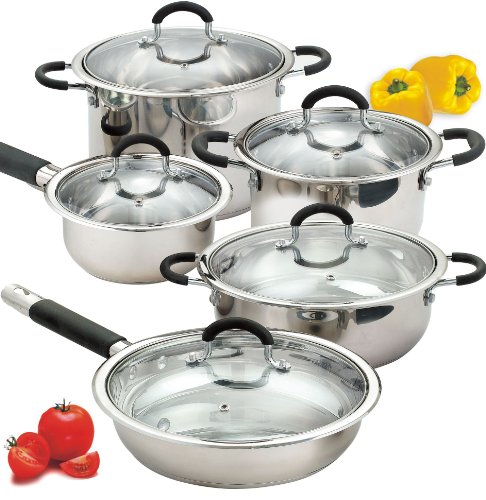 Cook N Home 10-Piece Stainless Cookware Set Encapsulated Bot
