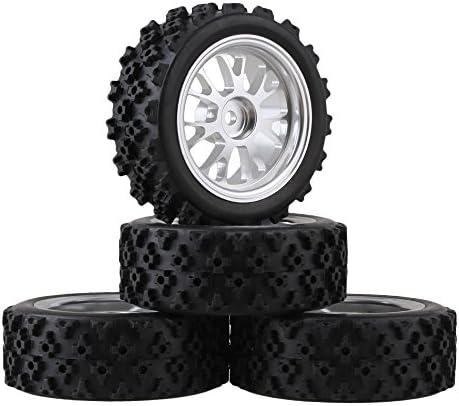 MxfansブラックフラワーパターンRubber Tyres +シルバーy-shapeアルミ合金ホイールリムfor RC 1: