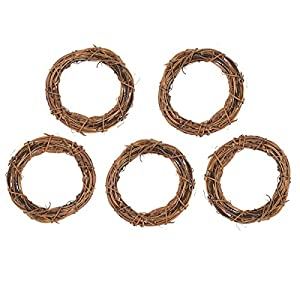 5Pcs Natural Dried Round Rattan Handmade Garland Wreath Xmas Wedding Home Garden Decor 28