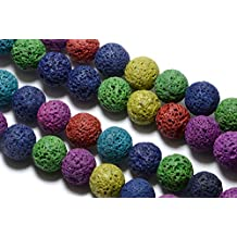 "Multi-Colored Lava Rock Beads in 8mm, Round, 15.5"" Inch Strand, Volcanic Rocks. Great Semi Precious Gemstone Bead Supplies #SD-S7949"