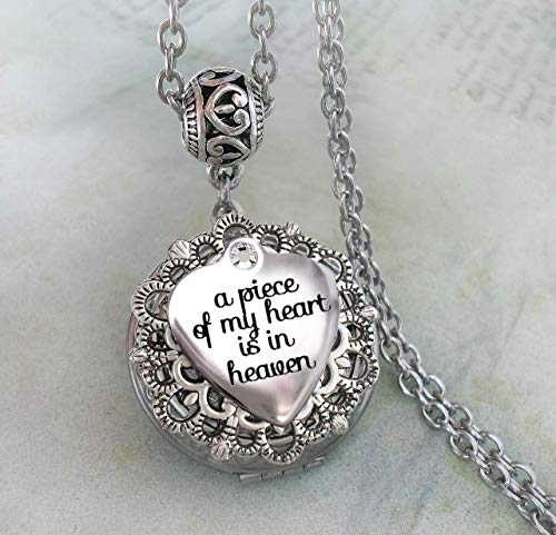 A Piece of My Heart is in Heaven Memorial Locket Necklace, Bereavement Sympathy Gift, Elegant Jewelry for Grief and Mourning -