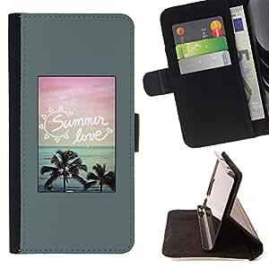 BullDog Case - FOR/HTC One M9 / - / summer love palm trees poster beach /- Monedero de cuero de la PU Llevar cubierta de la caja con el ID Credit Card Slots Flip funda de cuer
