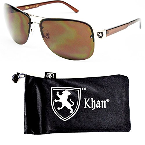 Logo Metal Aviator Shield Sunglasses (A181-kp Khan Turbo Sports Metal Celebrity Sunglasses W Pouch (1172 Gold/brown-brown lens, uv400))
