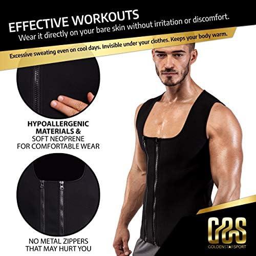 Goldenstarsport Sweat Vest for Men, Adjustable Sauna Vest for Men with Double Zipper, Workout Vest for Men, Mens Sauna Waist Trainer, Neoprene Vest Men 5