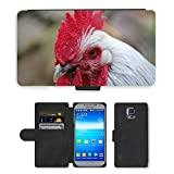 Hot Style Cell Phone Card Slot PU Leather Wallet Case // M00130592 Hahn Comb Gockel Bird Bill // Samsung Galaxy S5 S V SV i9600 (Not Fits S5 ACTIVE)