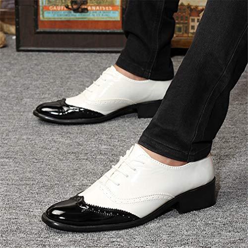 Casual Un Lace Shoes Ufficio Vintage Dress Scarpe YAN da Cuciture Moda Matrimonio Toe Uomo Up New Pointed Business Piatto Leather 2018 HwnFfqAx
