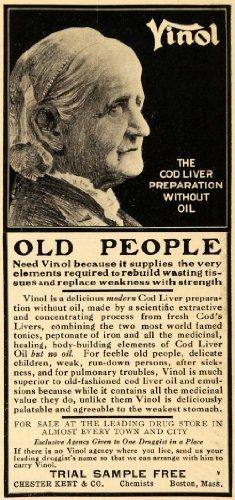 1909 Ad Vinol Cod Liver Old People Chester Kent Boston Health Medical Tonic - Original Print - Peoples Liver