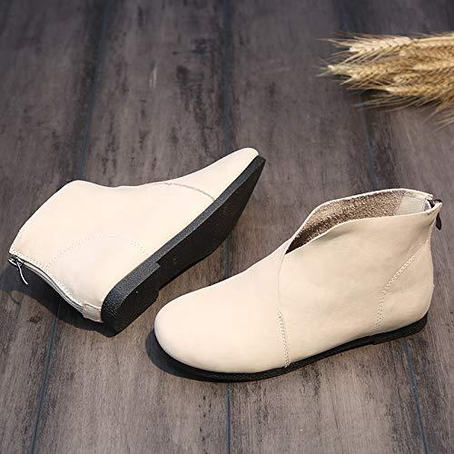 ZHRUI Zipper invernali Beige piatta in for Giallo Scarpa Boots Colore Soft EU 37 pelle Dimensione Comfort Women Shoes rTPp8rg