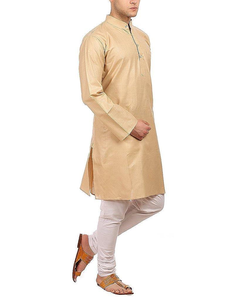 Royal Mens Cotton Blend Beige Kurta Churidar