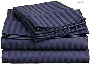 Crafts lino algodón egipcio 500-thread-count satén One sábana bajera ajustable y dos funda de almohada King individual (+ 36cm) bolsillo profundidad, azul marino diseño de rayas