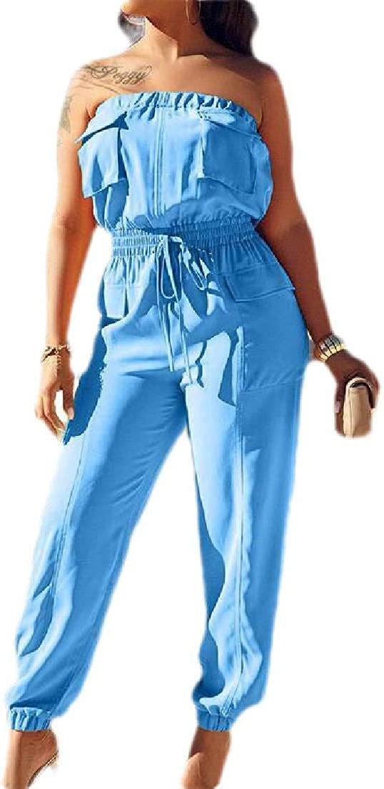 SELX Women Sleeveless Strapless Elastic Waist Overalls Rompers Jumpsuit with Pockets