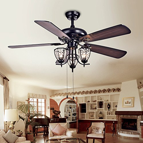 Mirabelle Black Triple-Bulb Ceiling Fan (52 in.) by Warehouse of Tiffany