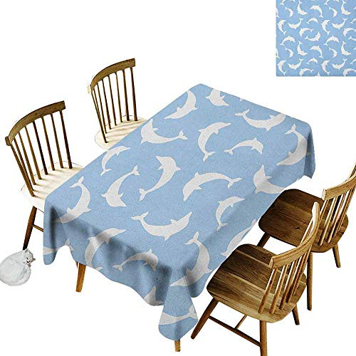 DONEECKL Sea Animals Soft Fabric Tablecloth Quick Wipe Pattern with Dolphins Silhouettes Simple Fun Art Blue White Ocean Fauna Baby Blue White W60 xL84