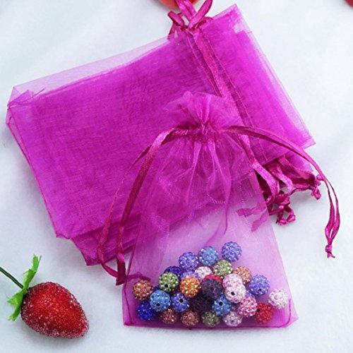 100 Pcs Organza Bags Pouch Box Pocket For Wedding Jewellery Gift,7x5CM,Tuscom (O)