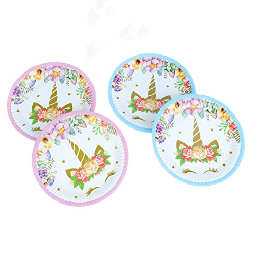 - Muhuyi Magical Unicorn Plates Paper Dessert Plates Set for Children's Unicorn Birthday Party Wedding Party 30 Pack