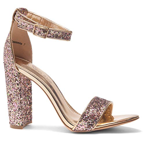 Herstyle Rosemmina Womens Open Toe Ankle Strap Chunky Block High Heel Dress Party Pump Sandals Rose Gold Glitter 7