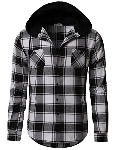H2H-Mens-Flannel-Plaid-Checkered-Long-Sleeve-Shirt-Hoodie-With-Front-Pockets