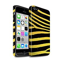 STUFF4 Gloss Tough Shock Proof Phone Case for Apple iPhone 4/4S / Yellow Design / Zebra Animal Skin/Print Collection