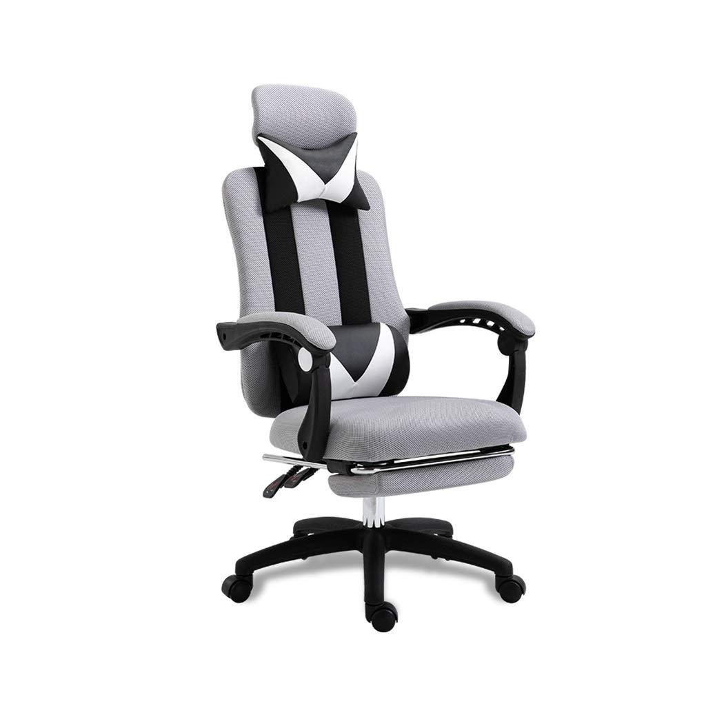 XZYZ Kontor racerstol hög rygg vilstol med fotstöd, justerbart nackstöd, ryggstöd, verkställande chef justerbar uppgift stol (färg: grå) Grått