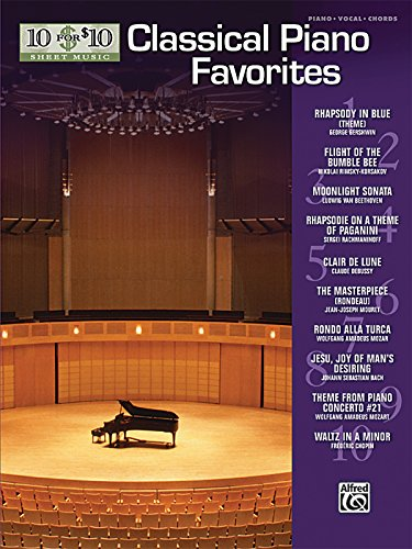 10 for 10 Sheet Music Classical Piano Favorites: Piano Solos (Moon Blue Sheet Piano)