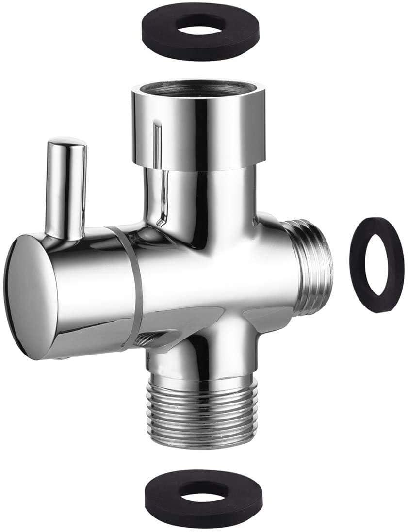 Sadalak Adaptateur en T G1//2 avec vanne de d/érivation pour salle de bain douche 3 voies en laiton poli chrom/é