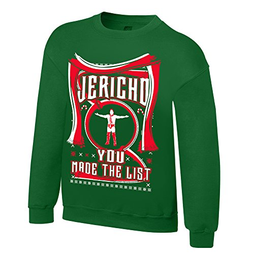 WWE Chris Jericho You Made The List Ugly Holiday Sweatshirt Kelly Green Large by WWE Authentic Wear