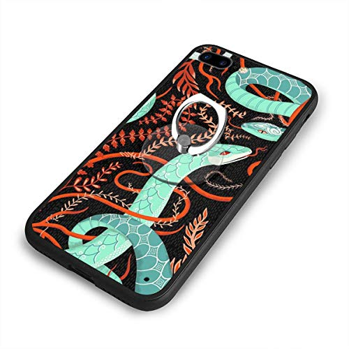 (Silicone Rubber Phone Case with 360 Degree Finger Stand and Printed Designs for iPhone 7 Plus iPhone 8 Plus Anti-Fingerprint and Cam Protection for Table Vines and Snakes)