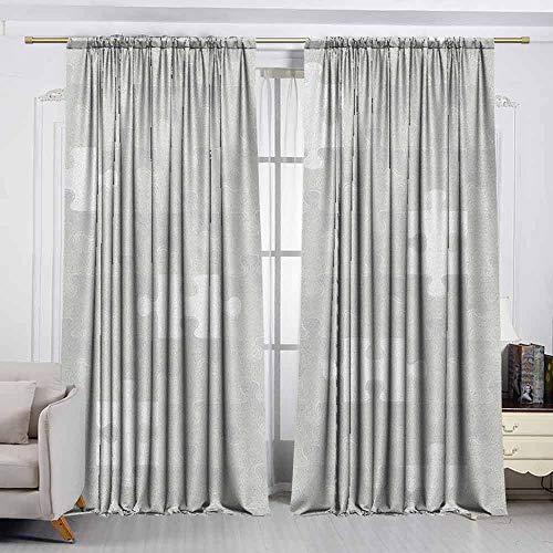 VIVIDX Rod Pocket Curtains,Grey,Abstract Puzzle Patterns in Simple Background Shabby Mosaic Ornament Idea Kids Children,Room Darkening Thermal,W72x63L Inches Gray ()