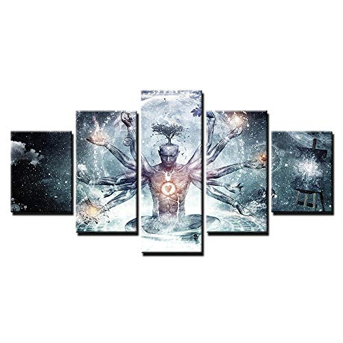 5 Piece/Set Buddha Zen Meditation Painting Grey Contemporary Abstract Canvas Prints Wall Art Religion Buddhist Bedroom Mural Home Decorations Size 150x80cm, Unstretched (Canvas Buddha Grey)