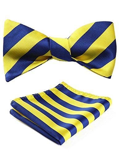 BIYINI Men's Stripe Bowtie Jacquard Woven Party Self Bow Tie Set Blue/Yellow