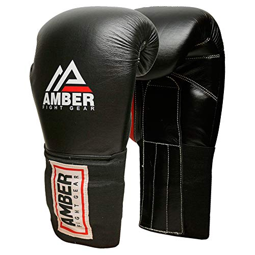 Amber Fight Gear MFG Professional Hook and Loop Leather Training Boxing Gloves MMA Kickboxing Training Sparring Punching…