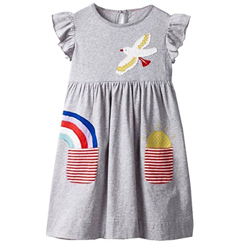 VIKITA Toddler Girl Animal Stripe Cotton Long Sleeve Dress Baby Girls Winter Casual Dresses 2-8 Years (3T, (Cotton Dress Chino)