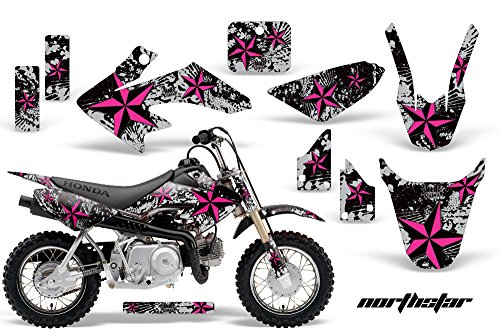 AMR Racing MX Dirt Bike Graphic Kit Sticker Decals Compatible with Honda CRF50 2004-2013 - NorthStar Pink - Mx Bike Graphics