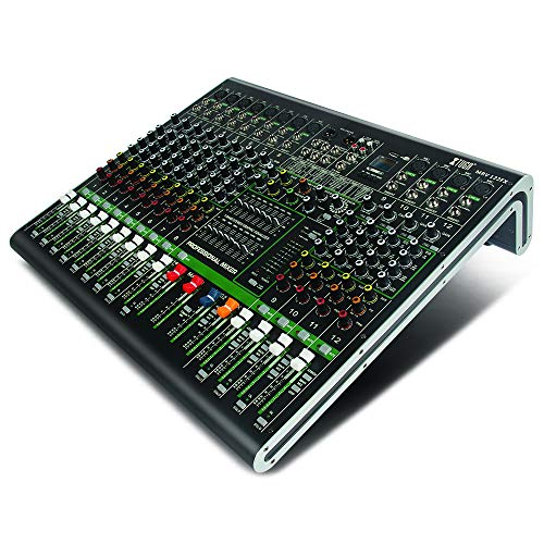 XTUGA MRV122FX 12-Channel Audio Mixer Sound board Ultra-fashion of all metal chassis with digital display MP3,Bluetooth,EQ,Effects Used for DJ Stage Party