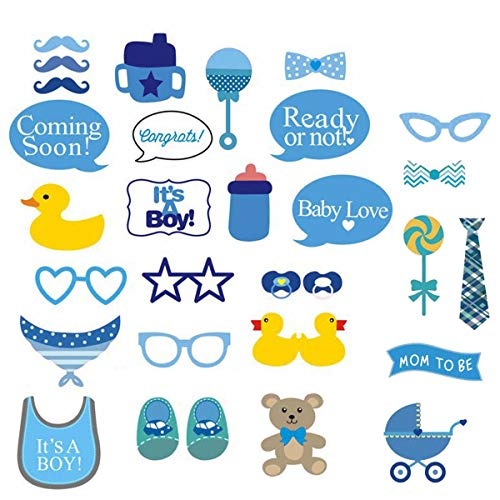 COKOHAPPY It's A Boy Baby Shower Photo Booth Props Kit, DIY Pose Sign Party Decoration Supplies - 30 Printed Pieces with Wooden Sticks]()
