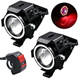 (US) LYLLA Motorcycle LED Headlight CREE U7 with Angel Eyes Ring and Switch (Pack of 2, Red)