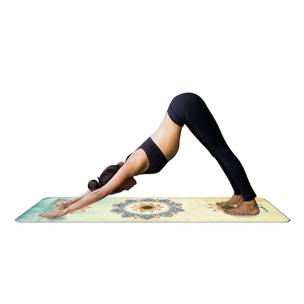 G WELL Mandala Yogamatte mit Tasche 1,5 mm dünn weich leicht Faltbar Rutschfest aus Naturkautschuk Travel Fitness Gymnastik Outdoor Sport 180 x 68 cm
